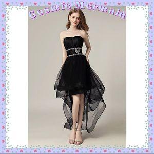 Dresses & Skirts - BLACK🆕🖤Glam High Low Crystal Sweetheart Dress🖤